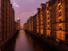 Hamburg, Germany - Evening atmosphere in historic warehouse district