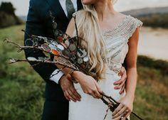 Alternate wedding bouquet ideas, boho bride, branches, circular glass pieces // Stephanie Jarstad Photography