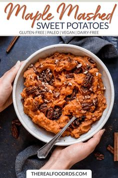 These creamy maple mashed sweet potatoes make a simple and delicious side dish for any night of the week or for a special holiday meal. Paleo Recipes Easy, Whole 30 Recipes, Real Food Recipes, Vegetarian Recipes, Gf Recipes, Italian Recipes, Paleo Side Dishes, Gluten Free Sides Dishes, Side Dish Recipes