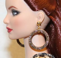 "3/4"" Gold Scroll Loop Earrings for Tonner Tyler Ellowyne DeeAnna Gene Sybarite"