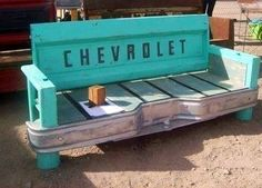 Old Chevy truck car parts bench
