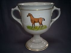 FINE C19TH ANTIQUE PEARLWARE PICTORIAL HORSE/NAMED COACHING INTEREST LOVING CUP