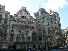 Casa Batlló, completed in 1906, close to Casa Milá on Passeig de Gràcia is a remodel of a previously built house by Antoni Gaudi