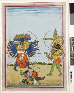 Gouache painting on paper from a set of eight paintings of deities and  processional scenes. An illustration from the Ramayana. Rāma mounted on Hanuman's shoulders fighting Ravaṇa while in the foreground a monkey warrior fights a Rakshasa.