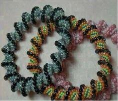 Spiral Peyote Stitch Bangle Bracelet by anastasia