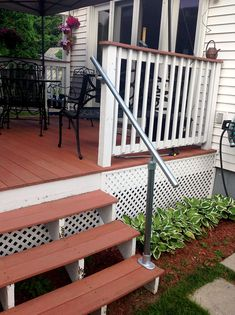 More click [.] Outdoor Stair Handrail Stainless Back Deck Metal Railing Simplified Building 13 Outdoor Stair Railing Ideas that You Can Build Yourself Outside Stair Railing, Porch Step Railing, Porch Handrails, Exterior Stair Railing, Wood Railings For Stairs, Metal Deck Railing, Outdoor Stair Railing, Metal Handrails, Porch Stairs