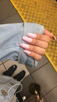 Light pink long acrylic coffin shape nails