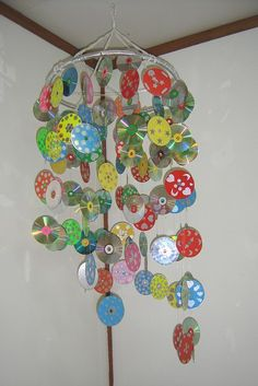 Cd mobile ≈ ≈ or wind chime  Leave the reflective side unpainted and you have a great sun catcher that chases birds from the garden