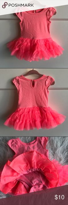 Baby Onesie Tutu dress Old Navy, Baby Onesie Tutu dress, bright Neon coral/pink, 0-3 mo, like new, worn and hand washed/line dried once! Smoke free and pet free home. So cute! 💖 Old Navy Dresses Casual