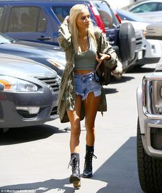 Laid-back: Pia Mia looked casual as she joined her friend on Wednesday, sporting an olive ...