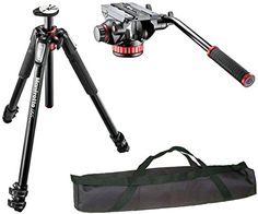 "Manfrotto MT055XPRO3 3-Section Aluminium Tripod with MVH502AH Professional Fluid Video Head and a 35"" Padded Case ** For more information, visit image link."
