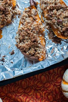 Twice Baked Sweet Potatoes with Coconut Pecan Streusel
