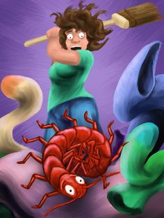 meegenius.com kerrykennett.com My main character getting swatted at! #centipedes To The Lady Upstairs, Sincerely, The Centipede  by Kerry Kennett