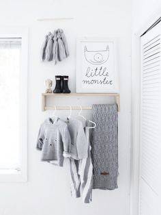 Sweet way to hang favorite clothing as your room decor in the nursery!