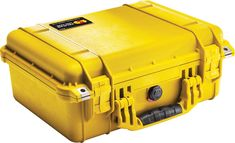 Pelican 1450 Case with Foam (Camera, Gun, Equipment, Multi-Purpose) - Yellow. Pelican cases are kept watertight through the use of a tongue and groove fit and a polymer o-ring. Pelican cases come standard with an Automatic Pressure Equalization Valve which releases built up air pressure while keeping water out. Pelican's Pick N'Pluck foam lets you customize the interior. Stainless steel reinforced padlock protectors. Interior Dimensions (inches): 14.62 x 10.18 x 6.00. Waterproof…