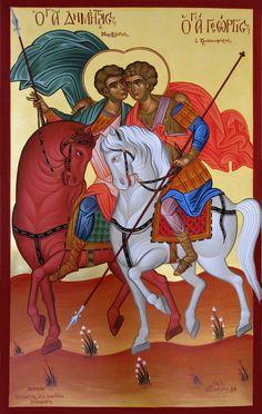 St Demetrios and St George, Greek icon