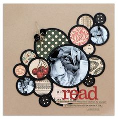 use of scraps in layout.....love the circles and such a neat way to use scraps #scrapbookideas #scrapbooking101