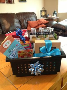 Dads Birthday Gift Basket Sunflower Seeds Beef Jerky Beer Lotto Scratchers