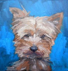 """Contemporary Artists of North Carolina: Yorkie Painting, Daily Painting, Small Oil Painting, Yorkshire Terrier Art, 8x8x1.5"""" Oil"""