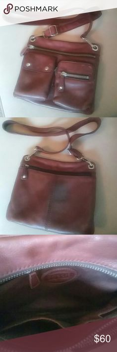 Black Friday Sale Fossil Crossbody Cowhide leather bag. Some wear on the front (pic 1 & 4) and some clothing ruboff on back (pic 2), the flaws do make it look rustic. Silver hardware. Fossil Bags Crossbody Bags