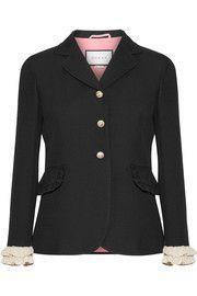 GucciRuffled-trimmed silk and wool-blend blazer