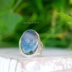 Agate mousse bague Luxe taille 54 | Les Anges de Tao Bijoux Agate, Agate Mousse, Agate Pierre, Tao, Gemstone Rings, Rings For Men, Gemstones, Jewelry, Heart Chakra