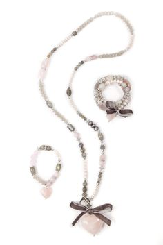 Rose Quartz and labradorite heart necklace and matching bracelets by PRANELLA. soft pink and grey works so well through the seasons.