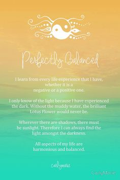 - Perfectly Balanced - If you have a section in your Book of Shadows for affirmations, lovelies, this one is worth adding ♥ Positive Thoughts, Positive Vibes, Positive Quotes, Chakras, Sacral Chakra, Chakra Healing, Buda Wallpaper, Inspirierender Text, Yoga Quotes