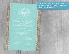 Teal Vintage Lace Bridal Shower Invitations