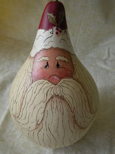 Santa Claus Gourd by MarleyartHoliday on Etsy, $28.00