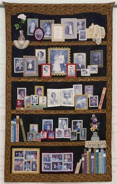 """""""Our Whole Life"""" quilt by Susan Stewart; 5 generations of her family photos transferred to fabric for a """"bookcase"""" style quilt; click through for other views of this marvelous quilt. Quilting Tips, Quilting Projects, Quilting Designs, Sewing Projects, Foto Quilts, Fabric Art, Fabric Crafts, Wow Photo, Little Presents"""