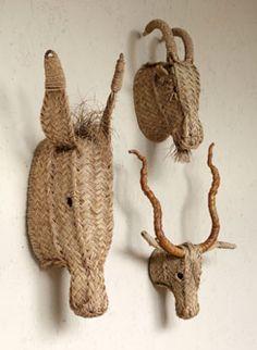 Grass animal heads