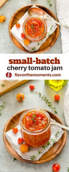 Small Batch Cherry Tomato Jam is sweet tangy and perfect for sandwiches burgers or appetizers! Cherry Tomato Jam Recipe, Tomato Jam Recipes, Jelly Recipes, Chutney Recipes, Hummus, Preserving Tomatoes, Grow Tomatoes, Preserving Food, Tomato Relish