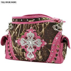 Concealed carry purse. Camo print material. NOTE: Camo print is unique to each piece and may vary slightly from picture. Two compartments with magnetic closure. Double shoulder studded chain and leath