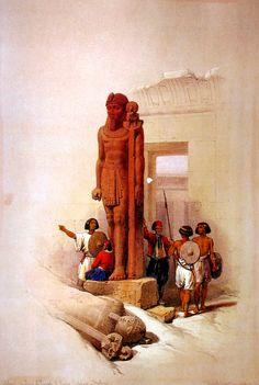 Egypt , Old Cairo Paintings: David Roberts - (British1796-1864 ) - Wadi Es-Sebua 1838