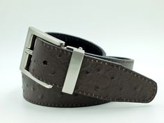 Brown & Black ostrich reversible belt www.aceofclubsgolfco.com