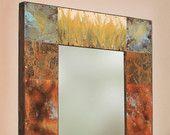 paul Rung: Copper and Metal Mirror. Metal Mirror, Dark Stains, Metallic Paint, Copper, Rustic, Frame, Handmade, Stuff To Buy, Painting