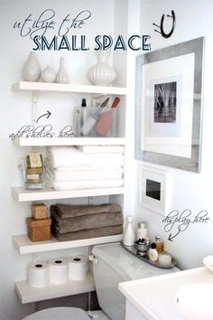 Small bathroom storage ideas-we need to try