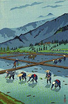 "Japanese Art Print ""Rice Planting (Taue)"" by Kasamatsu Shiro. Shin Hanga and Art Reproductions http://www.amazon.com/dp/B012ICP8WW/ref=cm_sw_r_pi_dp_0oXvwb0K54962"