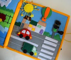 Transport quiet book page🚗🚃 . Binding Quiet Book, Travel Toys, Felt Food, Toy Kitchen, Book Pages, Before Christmas, Preschool Activities, Textiles, Transportation