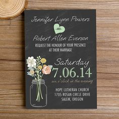 "country rustic mason jar chalkboard wedding invitations //Use coupon code ""rpin"" to get 10% off towards all the invitations. #elegantweddinginvites"