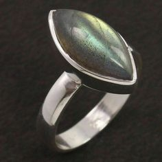 925 Sterling Silver Natural LABRADORITE Gemstone Ring Size US 7 Fashion Jewelry #Unbranded