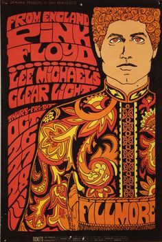 From England Pink Floyd, Lee Michaels & Clear Light, Fillmore Auditorium, San Francisco, October. 26-28, 1967.