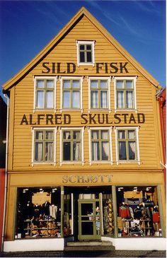 The Bryggen (Bergen, Norway) by Julie Bergen, Oslo, Beautiful Norway, Scandinavian Countries, Visit Norway, Norway Travel, Shop Fronts, Shop Around, World Of Color
