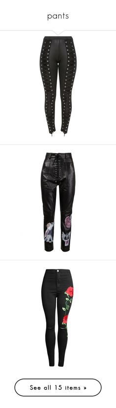 """""""pants"""" by xxbetelbeau ❤ liked on Polyvore featuring pants, bottoms, trousers, claire barrow, leather pants, genuine leather pants, real leather pants, leather trousers, jeans and distressed skinny jeans"""
