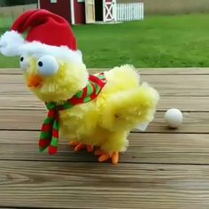 Fun gift for poultry lovers -- adorable battery powered plush chicken sings and dances in holiday style while laying 3 eggs.