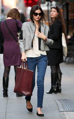 Miranda Kerr. Dries Van Noten jacket, Rag & Bone shirt, Current/Elliott pants, Givenchy shoes, Céline bag, Christian Dior sunglasses. Casual yet put together