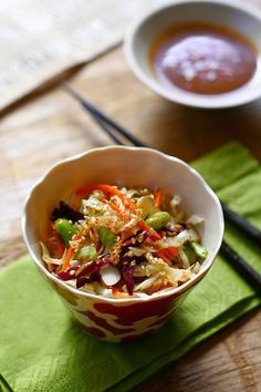 Asian Slaw with Soy Sesame Dressing - easy, healthy Asian slaw with AMAZING dressing that you can't stop eating   rasamalaysia.com