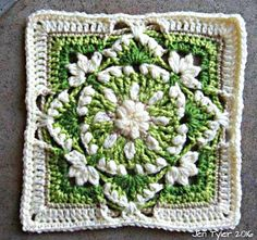 """A versatile, delicate looking decorative afghan square inspired by the lovely fresh perky greens and white of Snowdrop flowers.Perfect for repeats in a blanket or cushion cover. The finished square measures 8"""" x 8"""" or approximately 19cm square. Gauge is not too important but if you do tend to crochet quite tightly then a hook size up will help. :-)"""