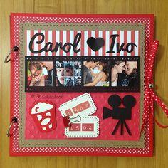 Álbum de fotos em scrapbook cinema (visão geral da decoração)